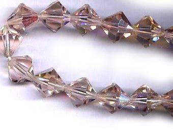 TEN vintage swarovski crystal bicones in old art. 364, light rose AB K.S. Swarovski 10mm antique crystal beads bridal finding