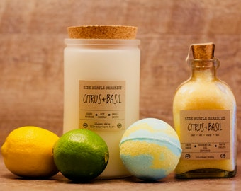 Citrus Basil Bath Gift Set - Gifts for Her, Gift for Mom, Beauty Gift, Gift Set, Bath Gift, Bath Bombs, Bath Salts, and Soy Candle - Citrus