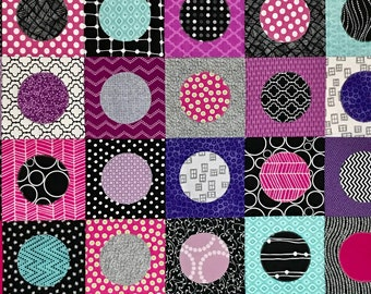 "Modern Baby Quilt; ""Charlie""; Contemporary; Circles; Pink; Purple; Teal; Modern Quilt; Lap Quilt, Play Mat, Wall art"