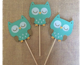 12 Owl Cupcake Toppers / Cupcake toppers/ owl / Purple and pink