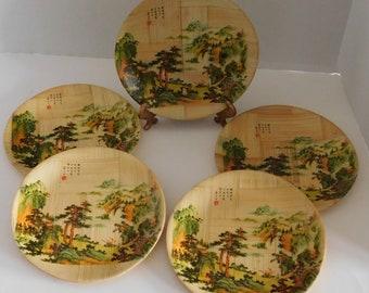 Bamboo Plates set of 5 Taiwan Republic of China & Bamboo plates taiwan | Etsy