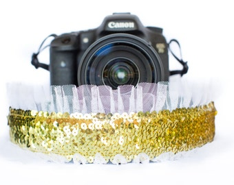 Sequin Camera Strap Gold with White Tulle