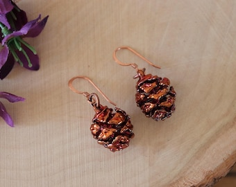 Copper Pinecone Earrings, Antique Copper Pine Cone Earrings, Real PineCone, Copper Pine Cones, Redwood, Pine Tree, Fall, Autum Earrings PC59