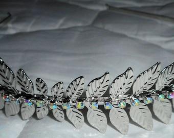 HAPACHICO LUPITA Silver Metal Headband Rhinestones Leaves 2016 Collection