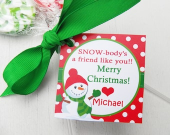 Personalized christmas gift tags printable or printed with free personalized snowman christmas gift tags printed or printable any wording calling card tag negle Gallery