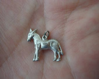 Vintage 925 Sterling Silver Charm, 2-Sided Donkey , 1 Gram, Charm Bracelet Charm, Silver Charm, Animal Theme Charm