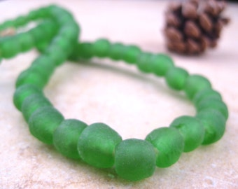 Green Recycled Glass Beads: World's Most Eco-Friendly Beads! Ghana Beads - African Beads - Wholesale Glass Beads - Made of Bottles 684