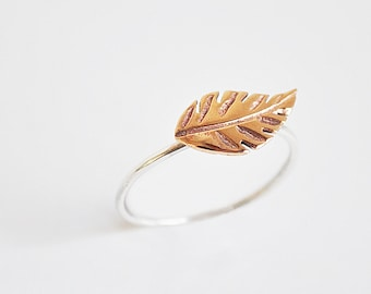leaf ring - sterling silver and bronze-FREE SHIPPING