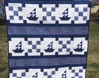 Blue and White Modern Sailboat Boy Quilt
