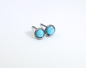 Small turquoise stud earrings, niobium stud earrings, niobium studs, tiny studs, minimal earrings, turquoise earrings, small stud earrings