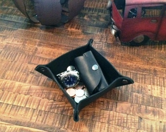 Black Full Grain Leather collapsable valet tray