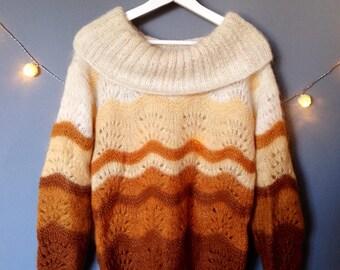 Vintage handmade hand knitted mohair pullover caramel orange ecru openwork crochet (S-M/36-38)