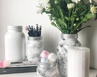 White Marble Mason Jar - Flower Vase - Make up Brush Holder - Silver Marble - Black Marble - Beauty Room Ideas - Dorm decor - Makeup Storage