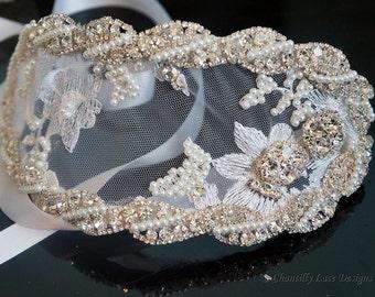 White Lace Rhinestone and Pearl Headpiece Juliet Cap 1950's Style Headband
