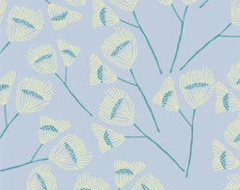 Fabric - Cloud 9 - Floret Sepal Powder Blue - Organic cotton batiste, semi sheer