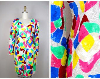 RARE Funky Retro Sequined Dress // Psychedelic Sequin Embellished Trophy Dress // Neon Sequin Dress