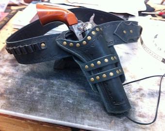 Custom made Gun Belt and Holster Hand tooled Cowboy Action