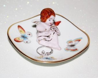 Engagement Melody Angel Butterflies Ring Dish Jewelry Catch All