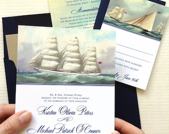 Tall Ship Wedding Invitations for your Nautical Wedding on a Yacht