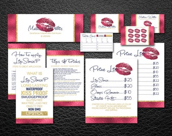 LipSense Bundle Pack | LipSense Business Cards | LipSense Marketing Kit | Digital Files | LipSense Red Gold |