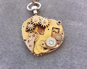 Steampunk Heart Necklace, Valentine Steampunk, Resin Heart Pendants, Necklaces watch, Clockwork Heart Steampunk Choker