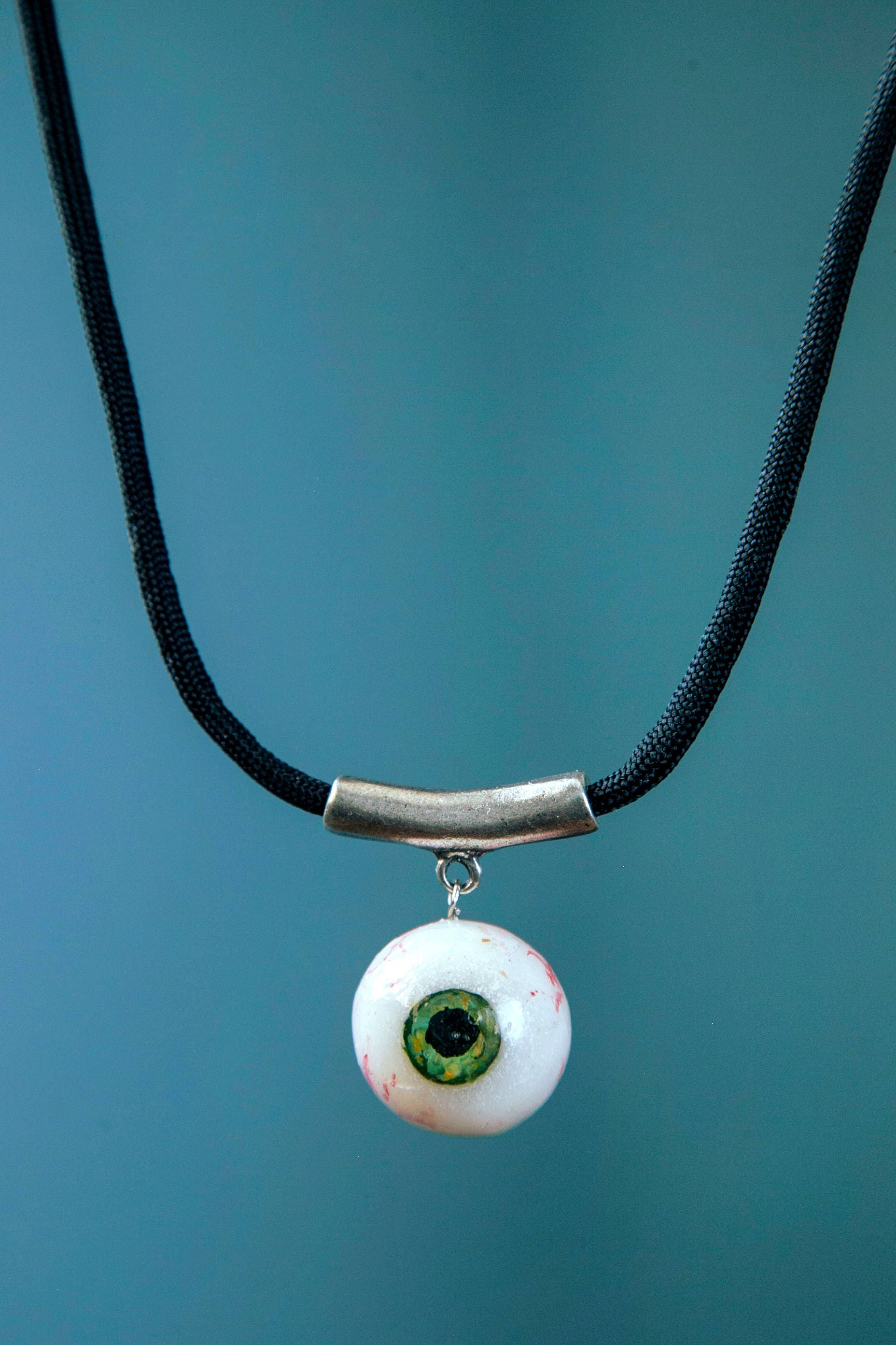 by creepy necklace silver bronze peculiarcollective pin eyes antique blue style human eyeball choker vintage