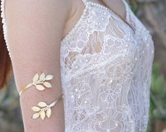 Grecian Arm Bracelet, Gold Leaf Bracelet, Cuff Bracelet, Wedding Bracelet, Body Jewelry, Upper Arm Cuff, Gold Arm band, Bridesmaid Gift