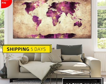 Map of the World, Large World Map, Purple Map, Purple World Map, Map Canvas, Colorful World Map, World Map Print, Abstract, Wall World Map
