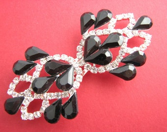 Metal frog closure, rhinestone garment cosure with black and clear crystals, NEW!