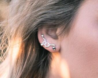 Science Jewelry Serotonin Earrings Molecule Ear Climber Dopamine Gift For Her Womens Ear Climber Silver Gold Ear Crawler Sweeps