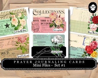 Prayer Journaling - Mini Files Set #1 - 3  Page Instant Download - scripture art, bible journaling kit, printable verses, prayer journal