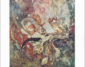 Little Mermaid Hans Andersen vintage art nouveau print illustration folk tale fairy tale  Edmund Dulac 8.5x11.5 inches