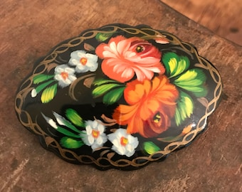 Vintage Hand Painted Black Lacquer Russian Brooch with Floral Pattern