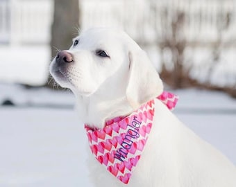 Hearts Pet Bandana || Valentine Personalized Dog Scarf || Live Laugh Love Reversible Custom Puppy Gift by Three Spoiled Dogs