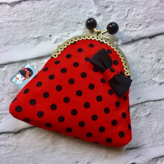 Red and Black Polka Dot Coin Purse