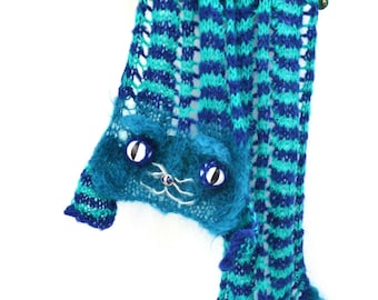 Monsieur Felix - Chevron Cat Scarf - Blue Green stripes - Mohair blend