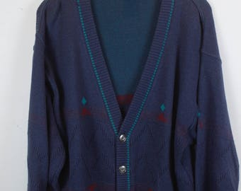 Vintage Cardigan, Vintage Knitwear, 80s, 90s, purple with green and red highlights, oversized