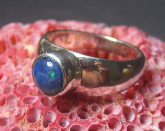 Australian Blue Opal Ladies Ring