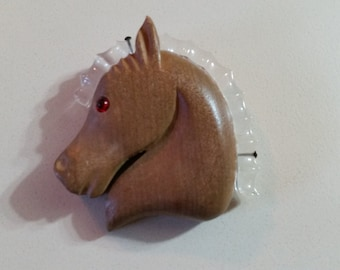 FREE U.S. SHIPPING--Vintage Lucite and Wood Horse Brooch