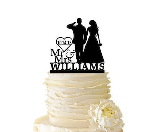 Mr. Mrs. Saluting Soldier With Bride With Name and Date or Initials - Wedding - Anniversary - Acrylic or Baltic Birch Cake Topper - 145