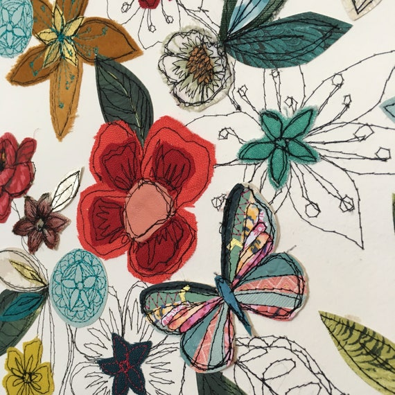Gorgeous Garden- mixed media- stitched original art