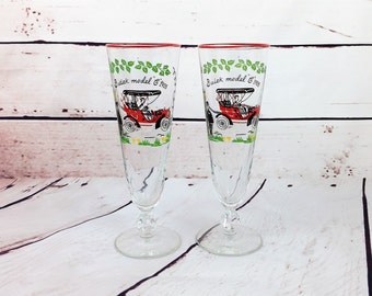 Libbey Pilsner Buick Model C 1905 Glasses, Set of 2 Beer Glasses for Car Enthusiast, Retro Barware, Horseless Carriage, Gift for Men