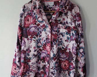 JACLYN SMITH Silky top pajama shirt floral print flower pink size M