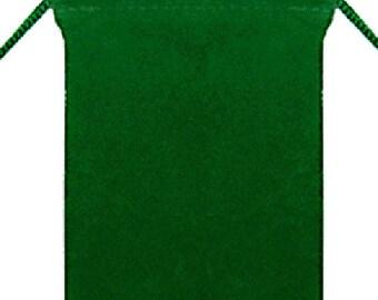 10 - Velvet Pouches - 4 x 5 - Green