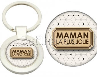"DELUXE ""PRETTIEST MOM"" KEYCHAIN"
