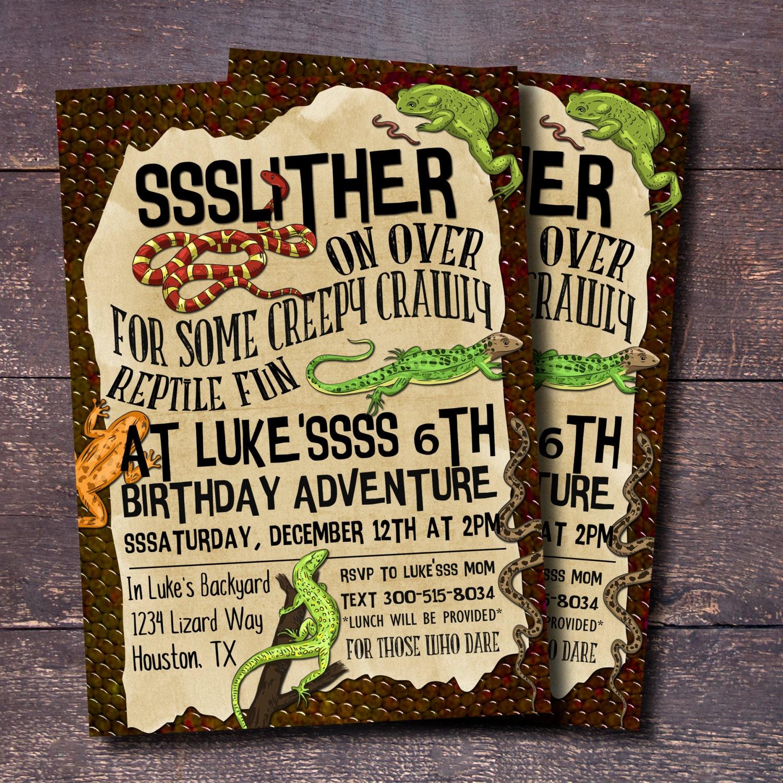 Reptile Party Invitation Boys Birthday Invitation Reptile