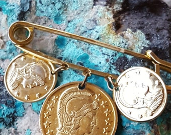 Brass Coin Brooch~Female Warrior Coins~Marianne of France Retro Pin~Vintage Coin Jewelry~Gilt Brass Bar Pin~by JewelsandMetals.
