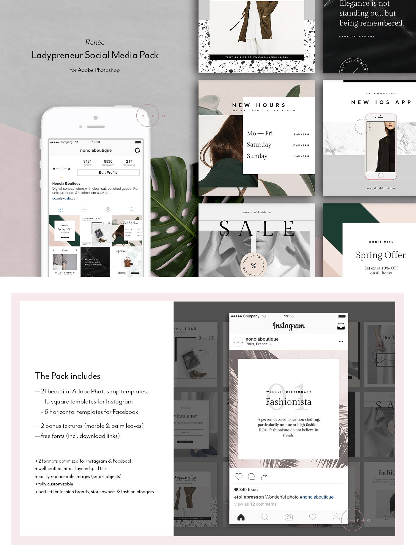 Social Media Kit 21 PSD Instagram Templates Fashion Social