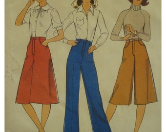 "70s Culotte Pattern, Side Shaped Pockets, Mock Fly Front, Wide Leg Pants, A-Line Skirt, Style No. 1609 Size 6 Waist 23"" 58cm"