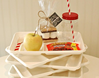 Food Trays 10 Disposable Food Trays, Disposable Plates, Cafeteria Trays, Party Plates, Divided Plate, Paper  Food Tray, Paper Plates, Picnic